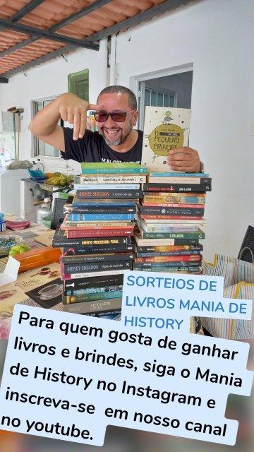 Para quem gosta de ganhar livros e brindes, siga o Mania de History no Instagram e inscreva-se em nosso canal no youtube. SORTEIOS DE LIVROS MANIA DE HISTORY